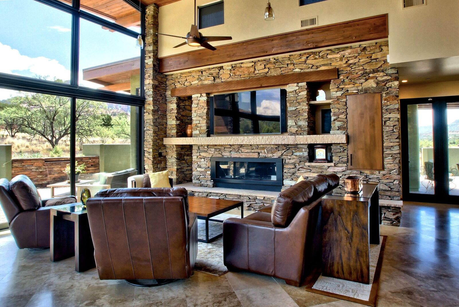 Natural Stone Veneer Entertainment Center